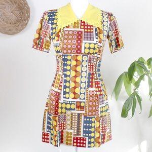 Vintage | 60s Red Yellow Geometric Mod Mini Dress